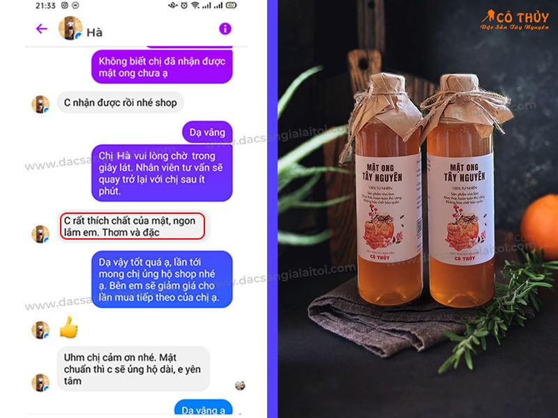 Feedback khách hàng mua mật ong rừng tại cửa hàng Cô Thủy